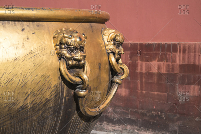 The Forbidden City in Beijingfire gold copper cylinder