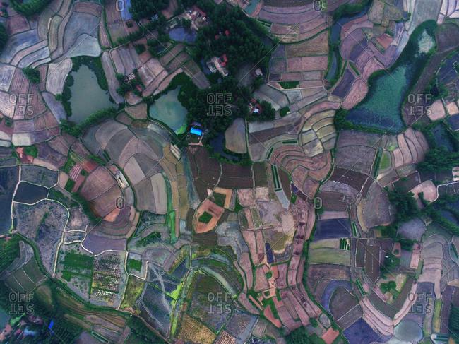 Aerial rural farmland