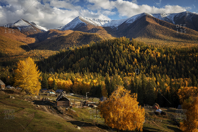 Xinjiang altay white khabarov village scenery