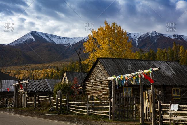 White khabarov village scenery in xinjiang