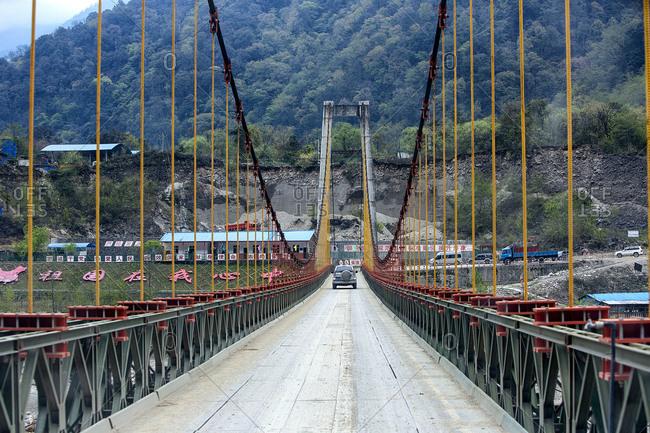 September 11, 2019: TongMai steel bridge in Tibet