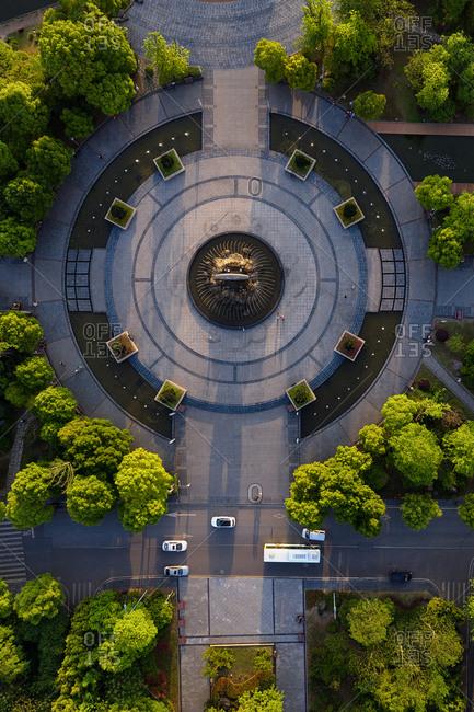 Aerial chongqing bishan wetland park jasper square