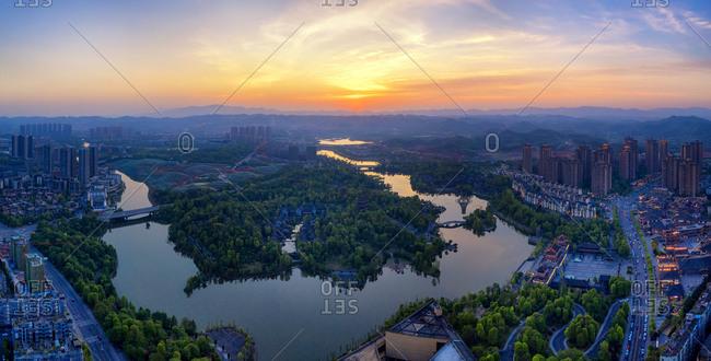 Aerial chongqing bishan show lake park