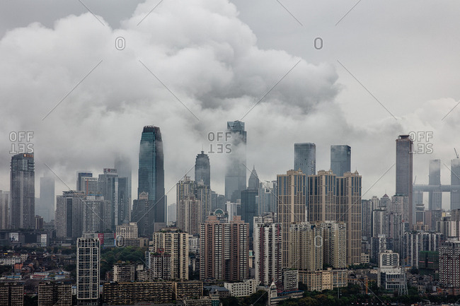 September 11, 2019: Foggy city mountain city of chongqing