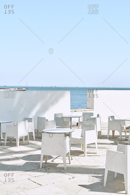 Empty beach cafe with an ocean view