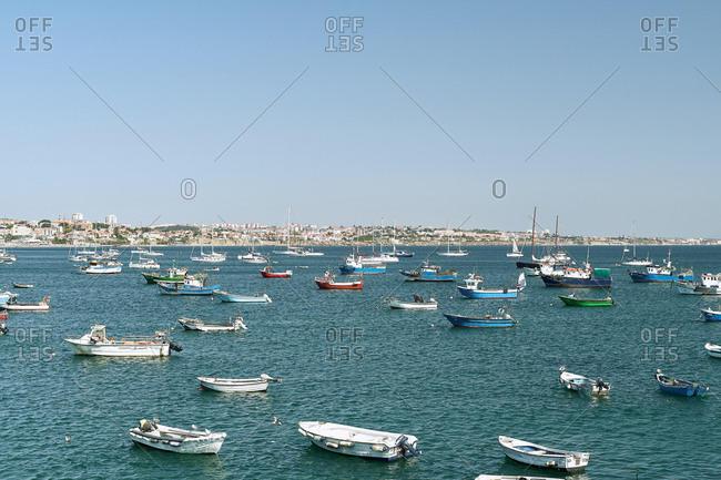 Cascais, Portugal - August 31, 2019: Many boats sitting in the harbor on a perfect day