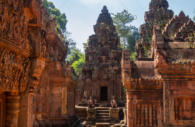 Banteay Srei or Banteay Srey is a 10th-century Cambodian temple dedicated to the Hindu god Shiva,  Angkor, Cambodia