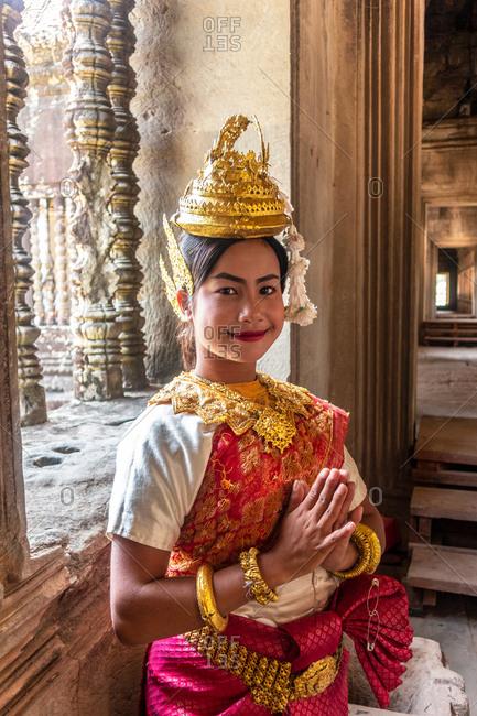 November 1, 2018: Girl in traditional costume, Cambodia