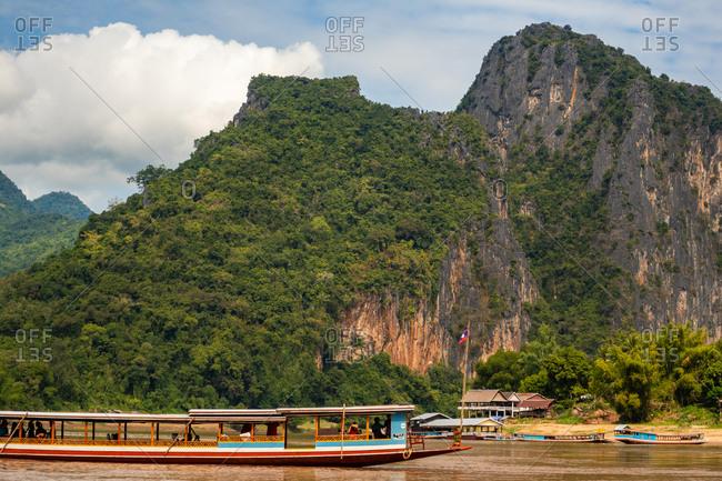November 9, 2018: Mekong River near Pak Ou Caves, Luang Prabang Laos