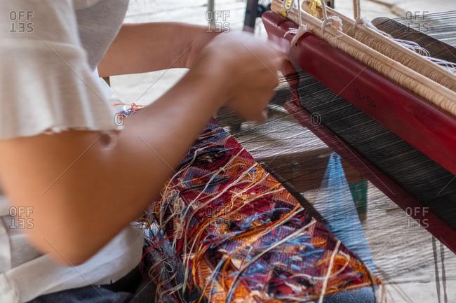 Silk weaving in Ban Phanomin Luang Prabang, Laos