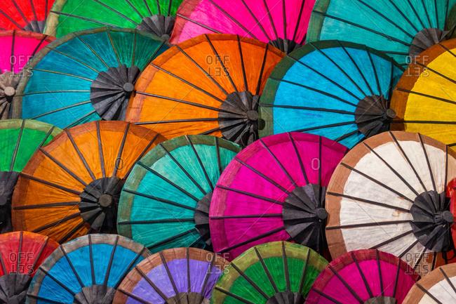 Colorful Umbrellas At Street Market In Luang Prabang, Laos