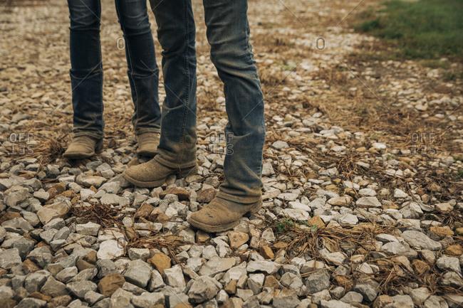 Dusty dirty female cowboy work boots