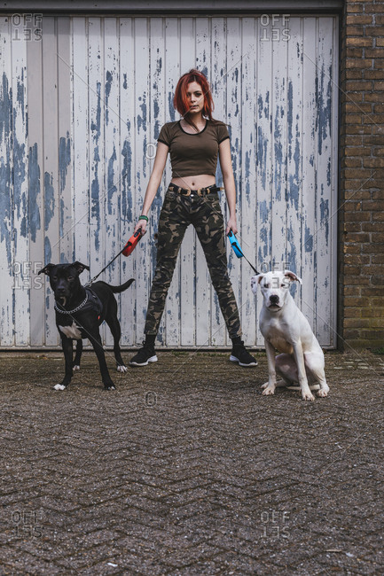Aggressive woman with her two guarding dogs