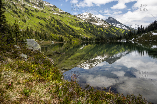 Scenic view of alpine lake in mountains with blue sky in canada.