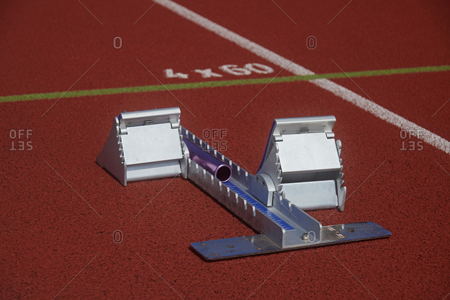 Close up of starting blocks at an athletics running track