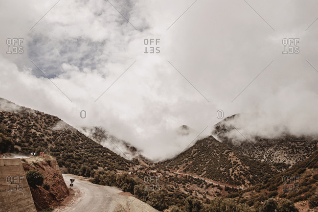 A view of the summit of tizi n test pass, morocco with clouds