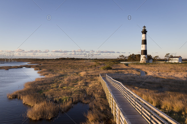 Marsh area and boardwalk surrounding the bodie island lighthouse
