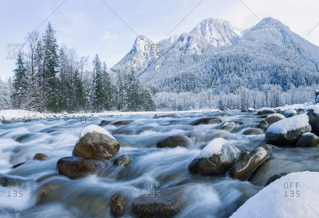 Skykomish river and mountains