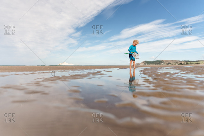 Young blonde boy playing with net at Hawke's Bay, New Zealand