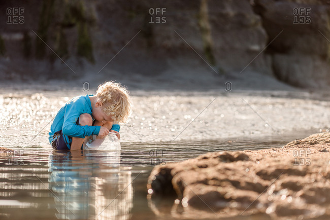 Young boy looking into tide pool at beach, Hawke's Bay, New Zealand
