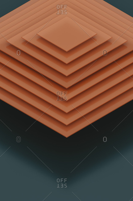 Abstract of floating orange nested squares