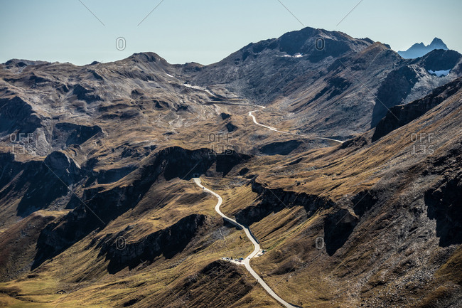 Elevated view over Grossglockner High Alpine Road, the highest mountain road in Austria