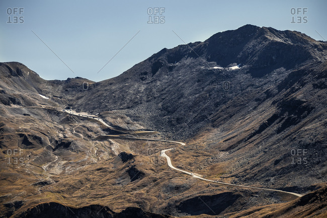Aerial view over Grossglockner High Alpine Road, the highest mountain road in Austria