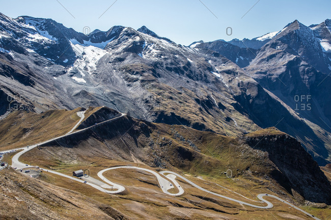 View over Grossglockner High Alpine Road, the highest mountain road in Austria