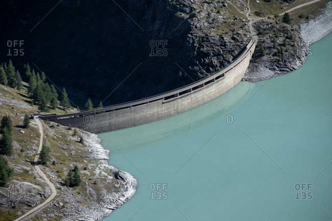 Aerial view of the dam at the Grossglockner High Alpine Road, Margaritzenstausee, Austria