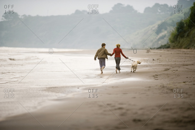 Young adult couple running along a beach with their dog.