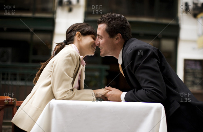Side view of a couple in a romantic mood.