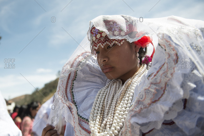 Ancash, Peru - August 10, 2017: Peruvian girl with typical costume during a traditional celebration
