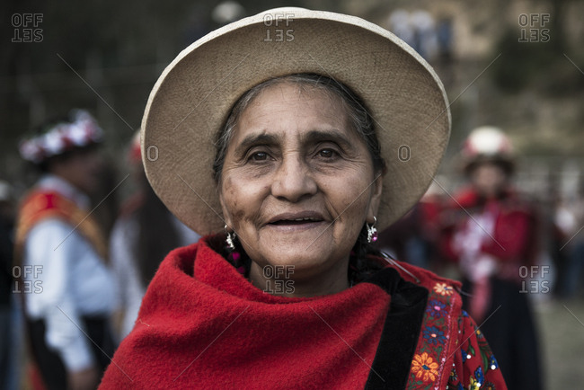 Ancash, Peru - August 10, 2017: Peruvian woman with typical costume during a traditional celebration