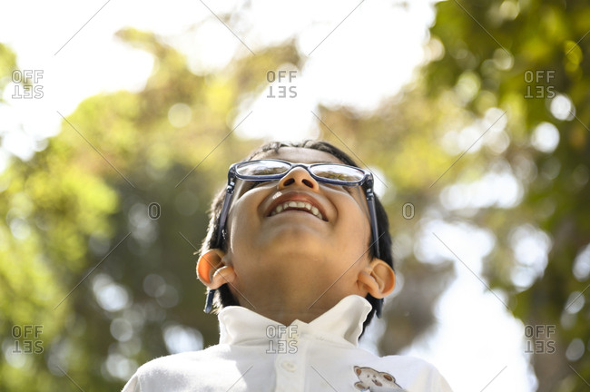 Child in contact with nature