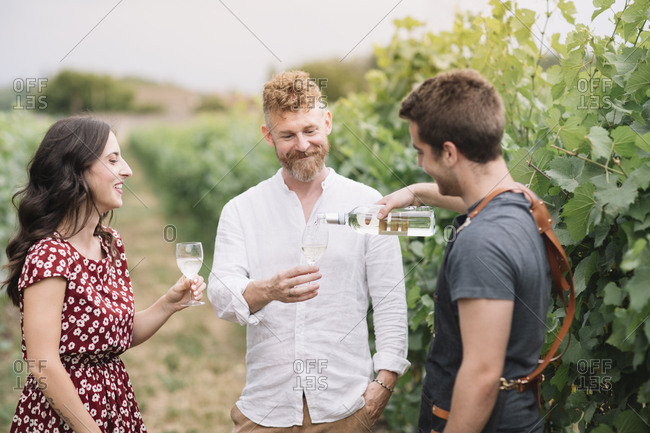 Sommelier with customers in the vineyard