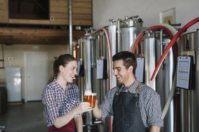 Happy young entrepreneurs at a brewery clinking beer glasses