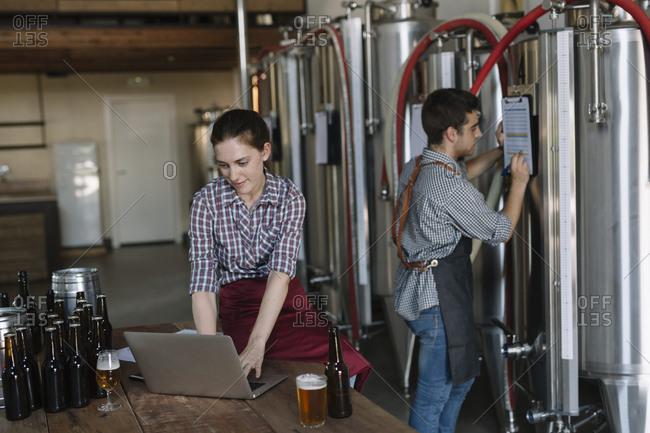 Young entrepreneurs working with laptop at a brewery