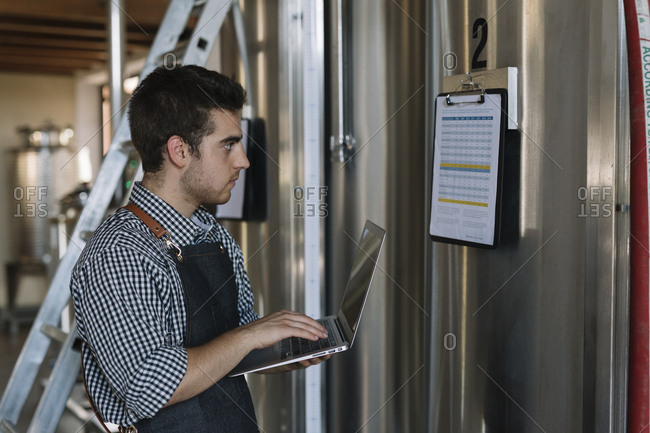 Young entrepreneur working with laptop at a brewery