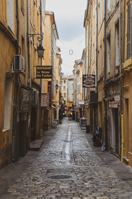 May 20, 2018: France- Provence- Aix-en-Provence- alley in the old town