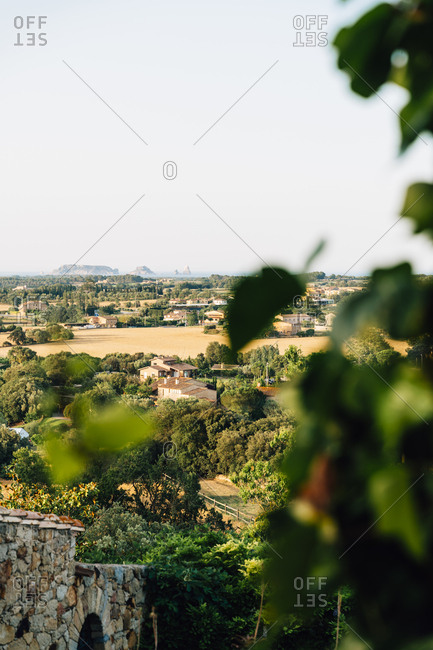 June 26, 2019: View of the rural environment of Baix Emporda with Medes Islands in the background- Pals- Catalonia- Spain