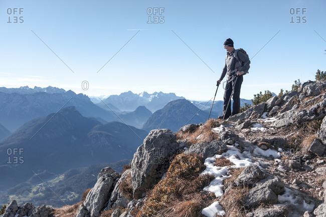 Germany- Bavaria- Berchtesgadener Land- Hochstaufen- hiker looking at view