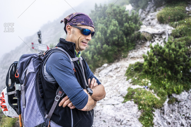Portrait of a hiker in the mountains- Orobie Mountains- Lecco- Italy