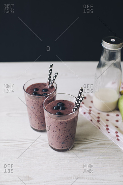 Wild berry smoothies in glasses