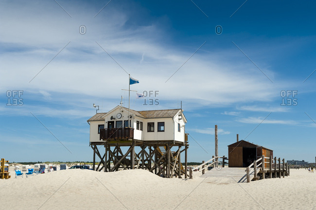June 8, 2018: Germany- Schleswig-Holstein- Sankt Peter-Ording- beach with stilt houses