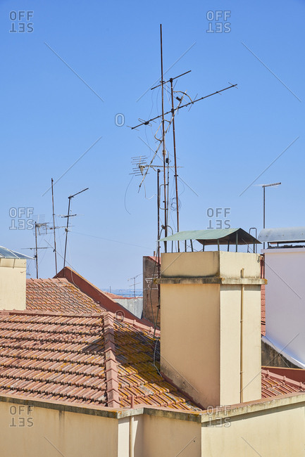 Antennas on rooftops in Lisbon, Portugal