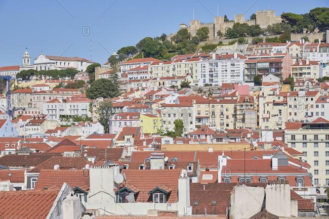 Lisbon, Portugal - September 6, 2019: Bird's eye view over red roof buildings in Lisbon