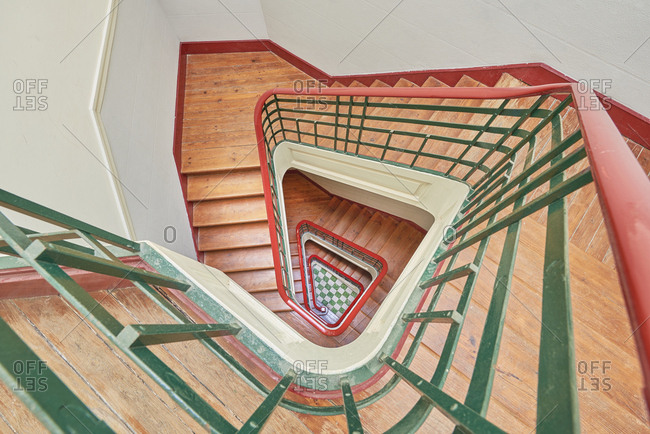 Overhead view of a spiral stairway in building in Lisbon, Portugal