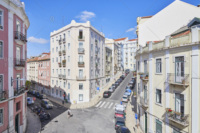Lisbon, Portugal - September 25, 2019: Building exteriors and intersection in Bairro das Colonias in the Anjos neighborhood of Lisbon