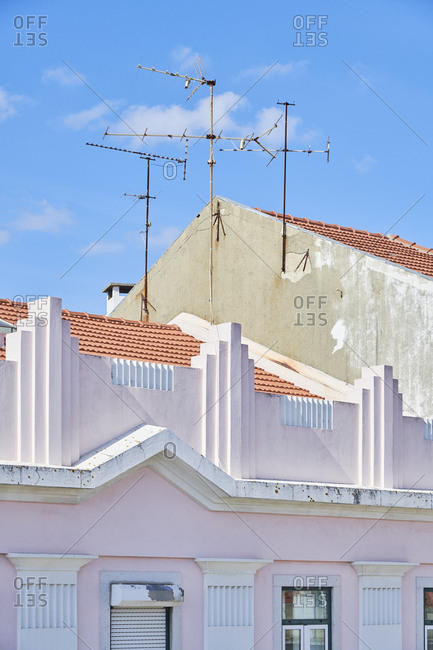 Antennas on top of buildings in Lisbon, Portugal