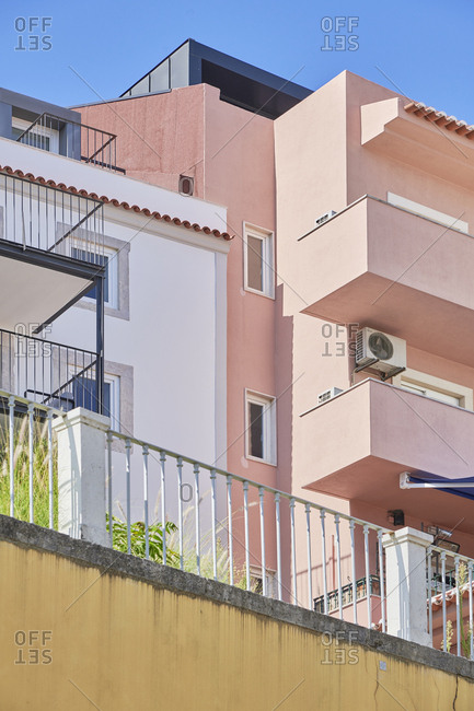 Lisbon, Portugal - August 30, 2019: Low angle view of multicolored building exteriors